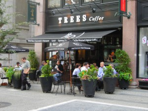 Patio at Trees Organic Coffee Granville Street Vancouver