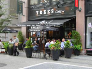 Trees Organic Coffee Granville St patio Vancouver