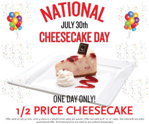 National Cheesecake Day 2015 Special