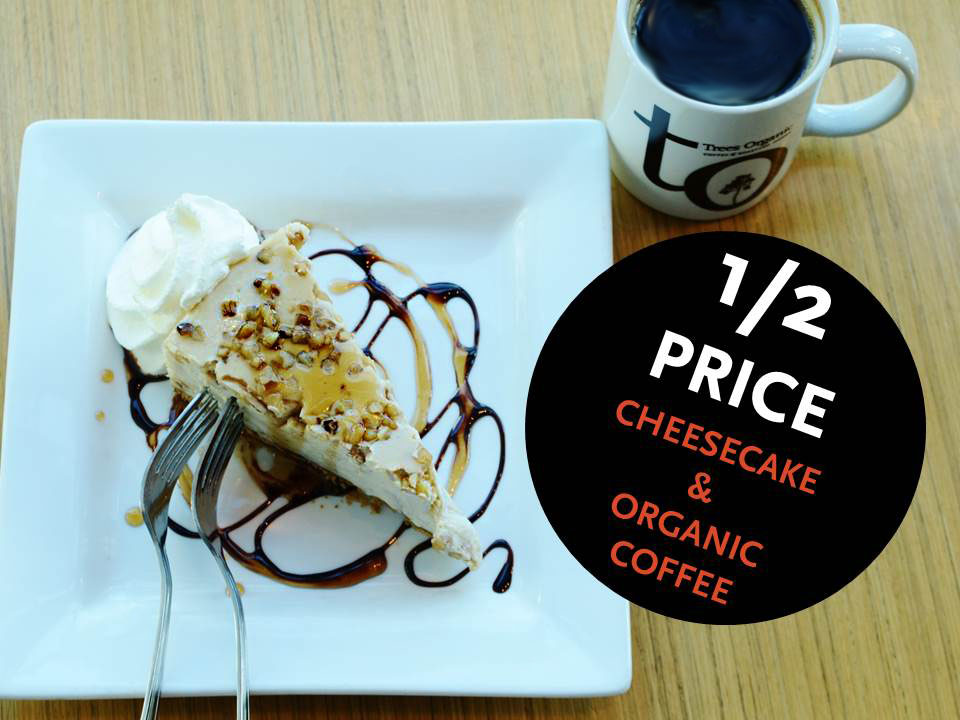 Half Price Cheesecake and Organic Coffee - Trees Coffee South Granville Grand Opening Sept 20 2016