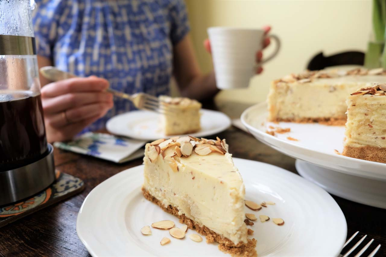 Amond Marzipan Cheesecake by Trees Organic Coffee